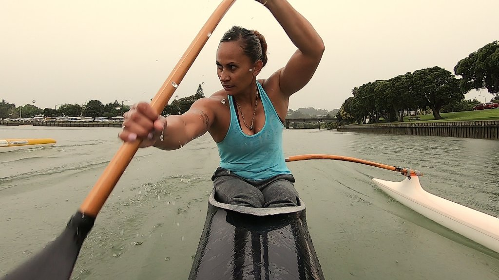 Kiwi Campbell coaching on the water