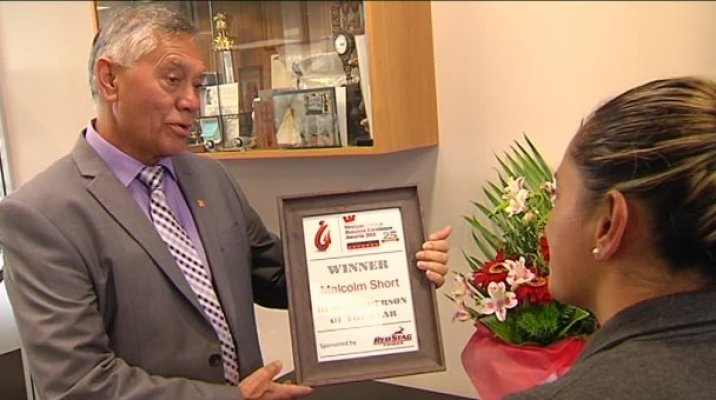 Malcolm Short, Chairman of Pukeroa Oruawhata Māori Trust and award with Māori Television reporter Mere McLean