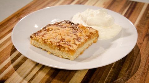 butterscotch slice displayed on a plate