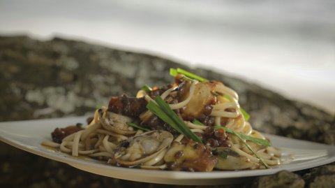 Octopus with Surf Clams and Udon Noodle Salad on display