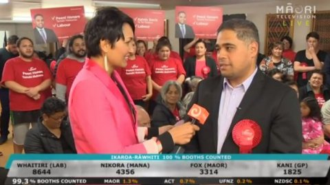 Reporter Billie Jo Ropiha with Labour Party's Peeni Henare